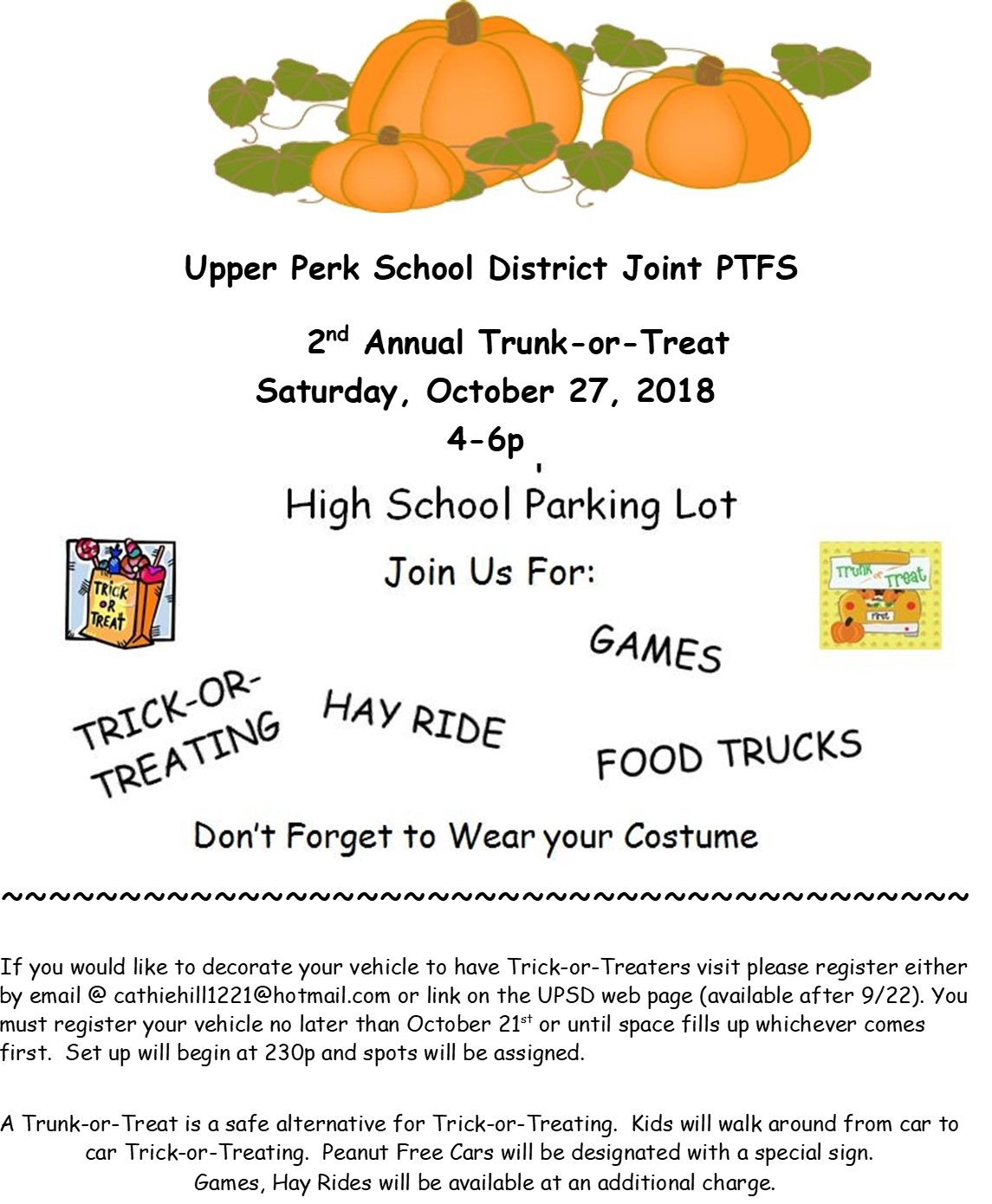 Trunk or Treat Fundraiser info